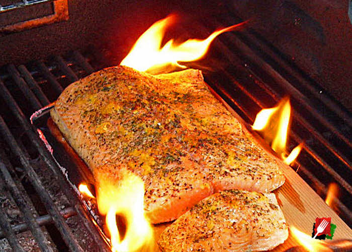 Salmon Cedar Plank Flaming on Grill