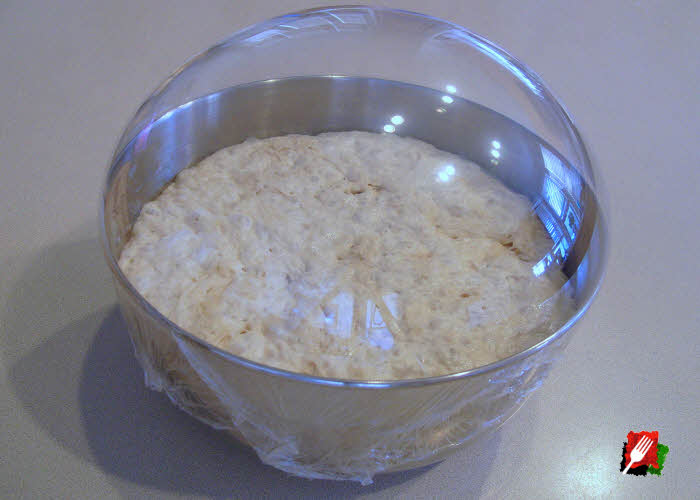 After about 12 hours total time, the dough will more than double in size