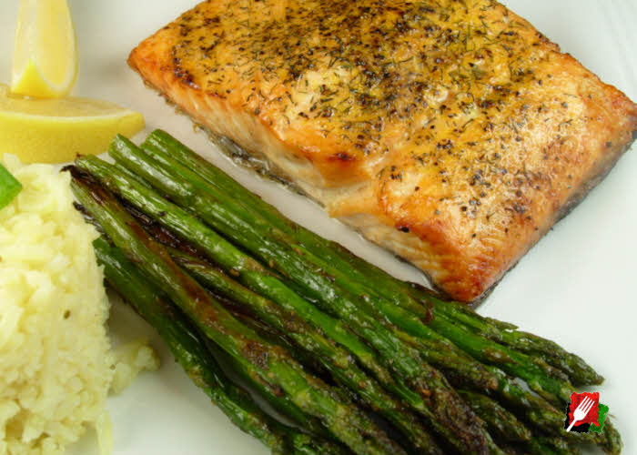 Grilled Asparagus with Salmon