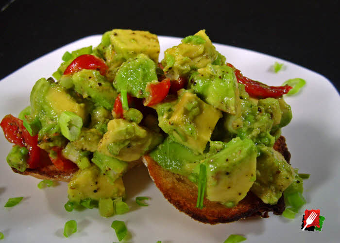 Avocado Salad on Garlic Toast