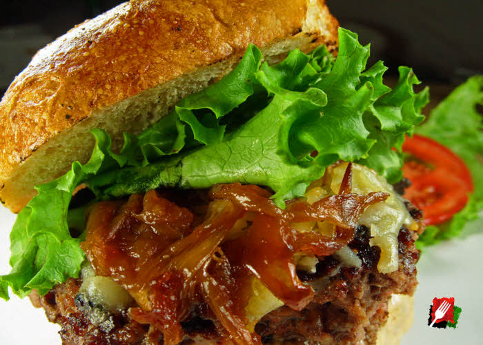 Gourmet Cheeseburger with Caramelized Onions
