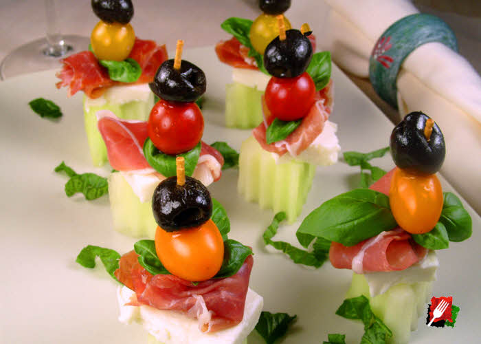 Caprese Salad with Mellon and Prosciutto