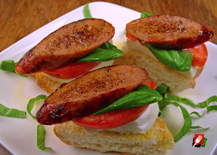Caprese Salad with Italian Sausage Cut on Bias