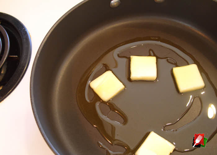 50/50 Butter and extra virgin olive oil in pan