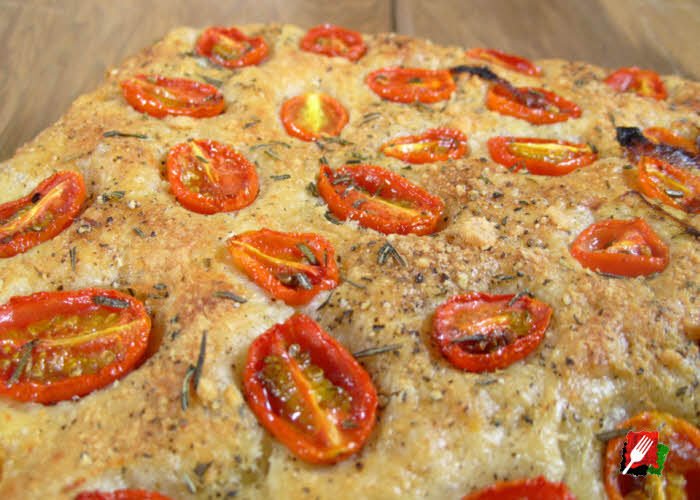 Focaccia Bread with Tomatoes and Rosemary
