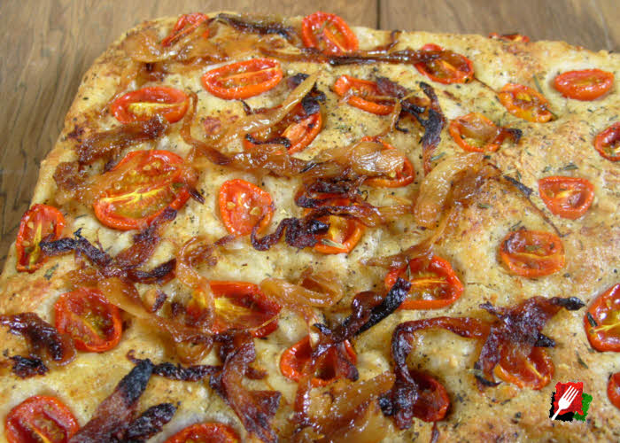 Focaccia Bread with Tomatoes and Caramelized Onions