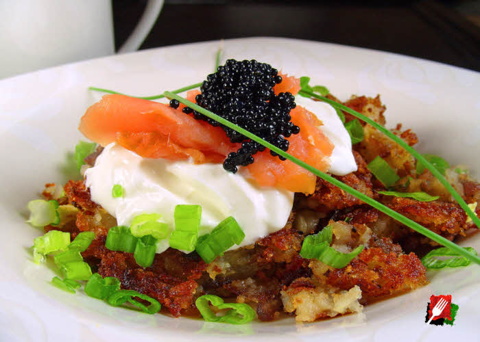Hash Browns with Sour Cream, Salmon and Caviar