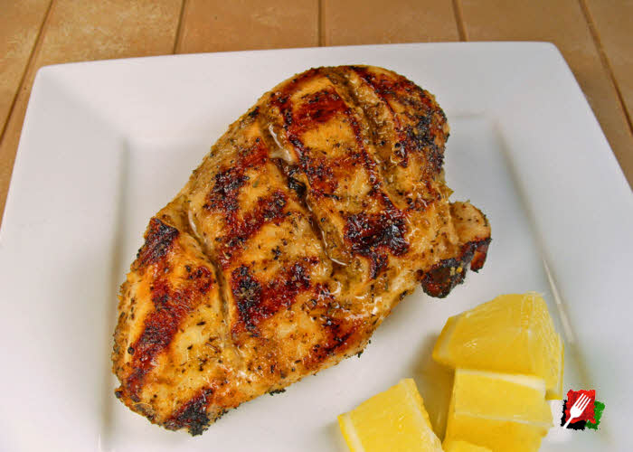 Grilled Lemon Chicken with Angled Cuts