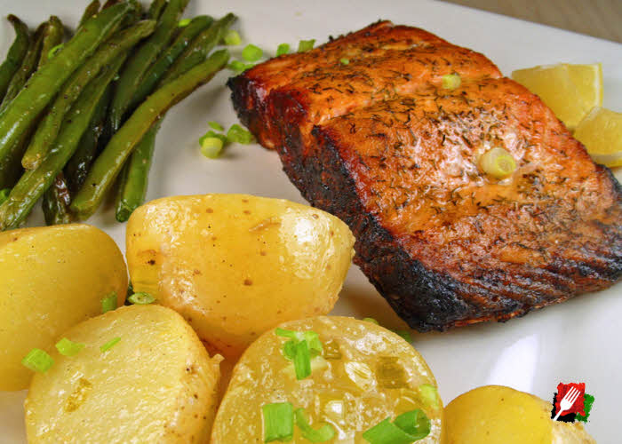 Lemon Chive Potatoes with Salmon