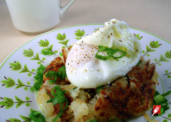 Poached Eggs Over Hash Browns