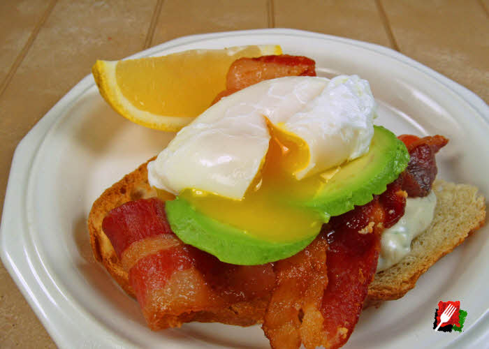 Poached Eggs, Bacon, and Lemon Basil Aioli