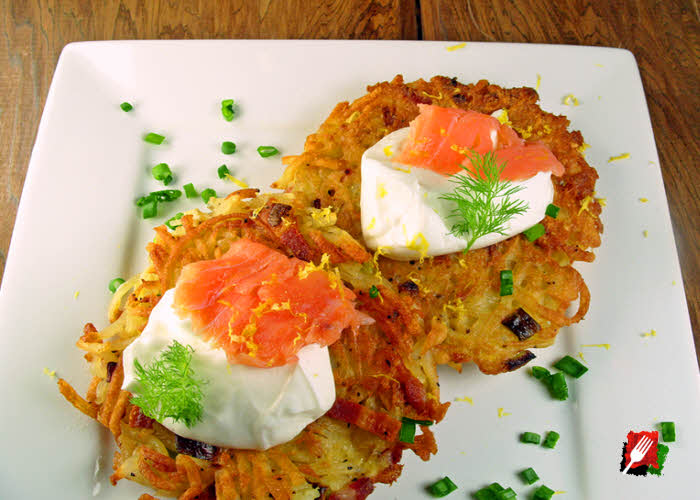 Potato Pancake with Sour Cream and Chopped Scallions