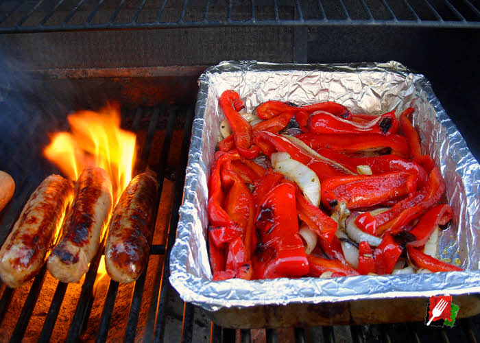 Grilling Red Bell Peppers with Italian Sausage