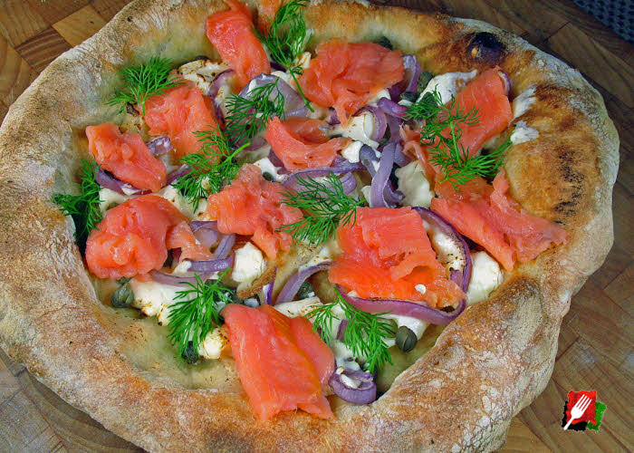 Salmon with Cream Cheese Pizza