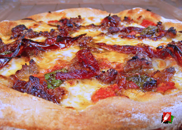 Sausage Caramelized Onion and Red Bell Peppers Pizza
