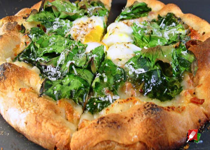 Spinach Breakfast Pizza