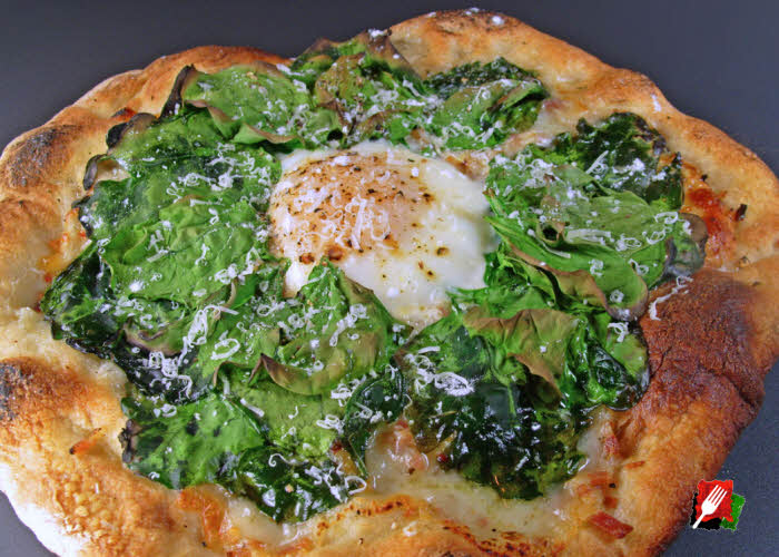 Spinach Breakfast Pizza