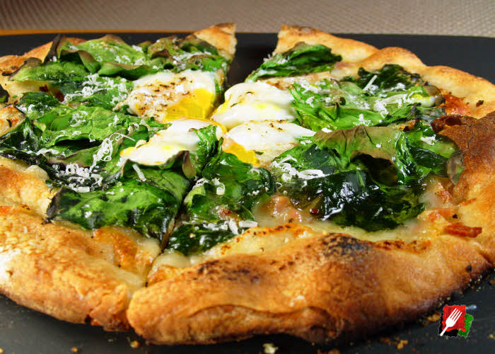 Poached Eggs On a Breakfast Pizza