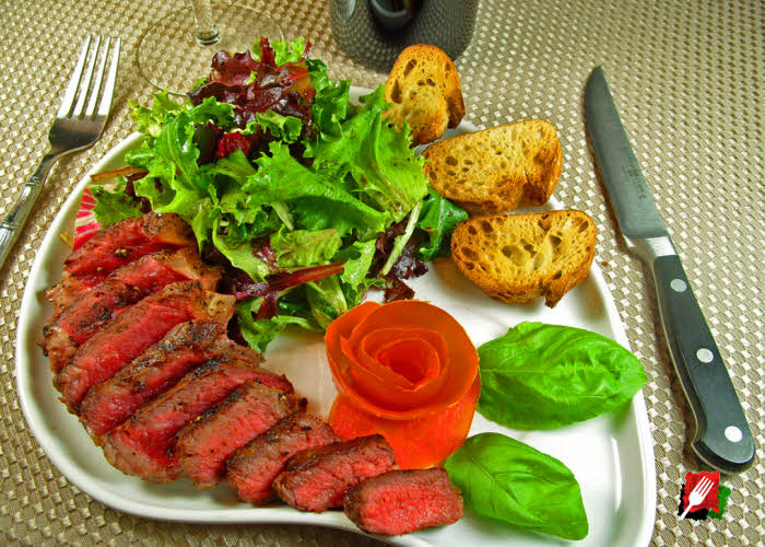 Steak Florentine with Italian Salad