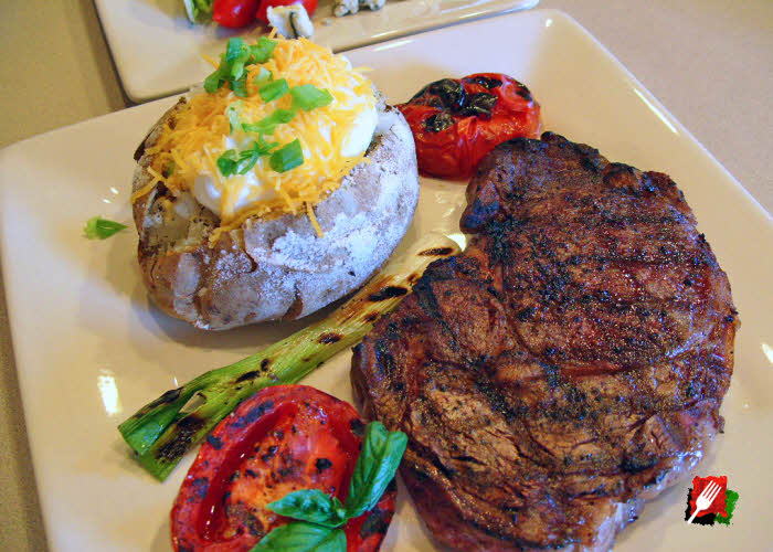 Grilled Ribeye with Baked Potato